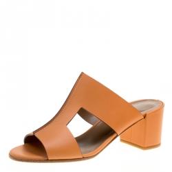 e1e6c8081c0c Hermes Natural Brown Leather Ostia Block Heel Sandals Size 38