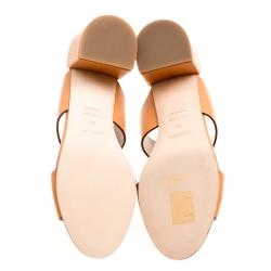 hermes natural brown leather ostia block heel sandals size
