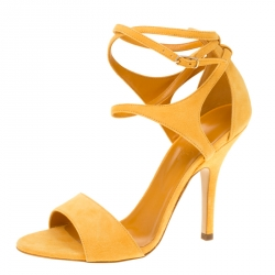 72cf6352a2 Hermes Alphonso Yellow Suede Cross Ankle Wrap Sandals Size 38