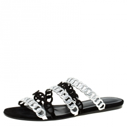 Hermes Metallic Silver Leather And Black Suede Chaine D'ancre Flat Sandals Size 38