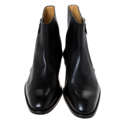 Hermes Black Leather Jerry Ankle Boots Size 43.5
