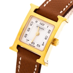 Hermes White Yellow Gold Plated Stainless Steel Heure H WHH1.101 Women's Wristwatch 17.2 mm