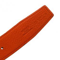 Hermes Black Leather H Logo Constance Reversible Belt 100CM