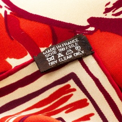 Hermes Red and Beige Horse and Jockey Printed Silk Square Scarf