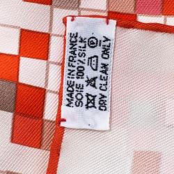 Hermes Orange Mosaique Au 24 Printed Silk Square Scarf