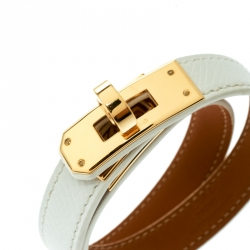 Hermes Kelly Double Tour White Leather Gold Plated Wrap Bracelet