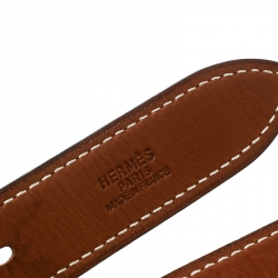 Hermes Two Tone Brown Leather Double Etriviere Belt 75 CM