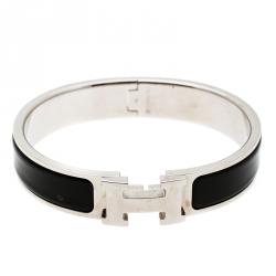 1b8714cf12be Hermes Clic Clac H Black Enamel Palladium Plated Narrow Bracelet PM
