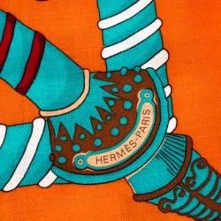 وشاح هيرمس حرير وكشمير طباعة Etendards et Bannieres متعدد الألوان