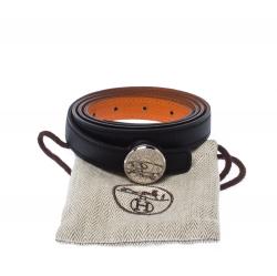 Hermes Black/Orange Leather Reversible Belt