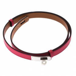 Hermes Rose Shocking Epsom Leather Kelly Belt