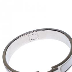 Hermes Clic Clac H White Enamel Palladium Plated Narrow Bracelet PM