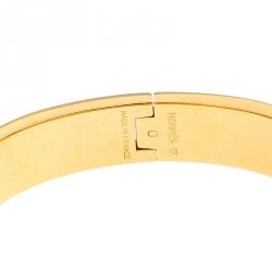 Hermes Clic Clac H Black Enamel Gold Plated Narrow Bracelet PM