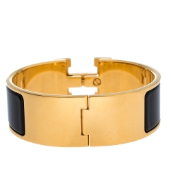 Hermes Clic Clac H Black Enamel Gold Plated Wide Bracelet PM