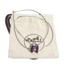 Hermes Pop H Purple Lacquer Palladium Plated Pendant