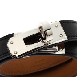 Hermes Kelly Black Leather Palladium Plated Double Tour Bracelet S