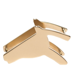 Hermes Tate De Cheval Horse Head Gold Tone Scarf Ring