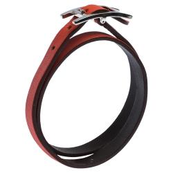 Hermès Hapi Dark Orange Leather Palladium Plated Wrap Bracelet M