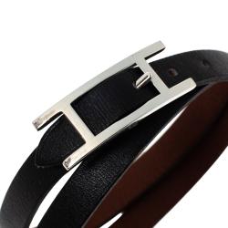 Hermès Hapi 3 MM Black Leather Palladium Plated Wrap Bracelet GM