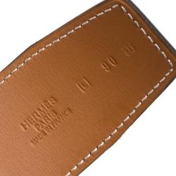 Hermes Black/Natural Leather Reversible Belt Strap 90CM