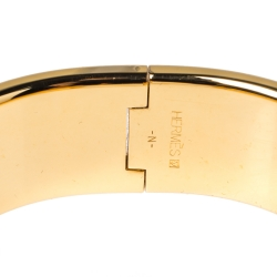 Hermes Clic Clac H Orange Enamel Gold Plated Wide Bracelet PM