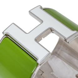 Hermès Clic Clac H Vert Anis White Enamel Palladium Plated Extra Wide Bracelet PM