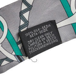 Hermes Grey Panoplie Equestre Silk Twilly