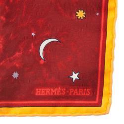 Hermes Red L'annee des Etoiles Pocket Square