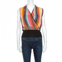 d7a48c2bde Hermes Multicolor Striped Silk Faux Wrap Front Sleeveless Top M
