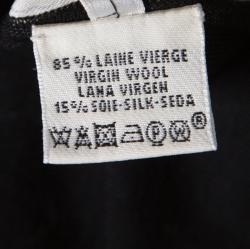 Hermes Black and Beige Printed Silk Front Raglan Sleeve Wool Top M