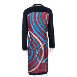 Hermes Maroon Fouets Et Badines Print Silk Shift Dress L