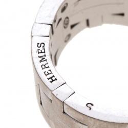 Hermes Kilim H Motif 18k White Gold Band Ring Size 51