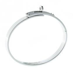 Hermes Kelly Diamond & 18k White Gold Small Narrow Bracelet