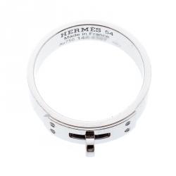 Hermes Kelly Diamond 18k White Gold Band Ring Size 54