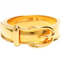 Hermes Buckle Belt Motif Gold Tone Metal Ring Size 54