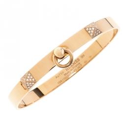 Hermès Collier de Chien Diamond 18K Rose Gold Bracelet SH