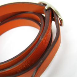 Hermes Hapi II Orange Chamonix Leather Palladium Bracelet