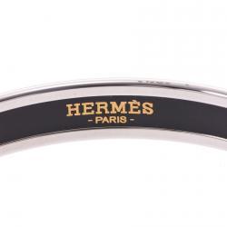 Hermes Dark Grey Silver Cloisonne Logo Bangle