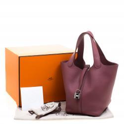 Hermes Bois de Rose Clemence Leather Picotin PM Bag