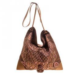 c008eca44f98 Hermes Brown Printed Kelly En Perles Silk and Swift Leather Silky City Bag