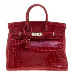 9439b6bfa3 Hermes Rouge Garance Niloticus Crocodile Palladium Hardware Birkin 25 Bag
