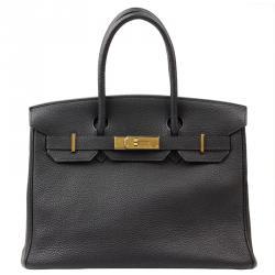 b00ae01e6697 Hermes Noir Taurillon Clemence Leather Gold Hardware Birkin 30 Bag