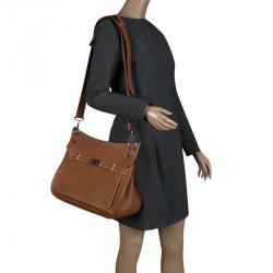 277177a7b3bf Hermes Brown Clemence Leather Palladium Hardware Jypsiere 37 Bag