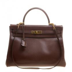 Hermes Prune Courchevel Leather Gold Hardware Kelly Retourne 35 Bag cd4f5916532b8