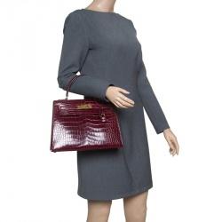 Hermes Burgundy Crocodile Gold Hardware Kelly Sellier 28 Bag