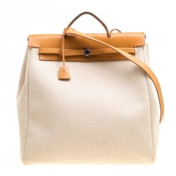 Hermes Dark Tan Beige Leather and Canvas Herbag Zip 39 Bag 7872c8d7f345a