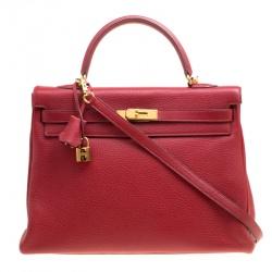 Hermes Rouge Garance Togo Leather Gold Hardware Kelly Retourne 35 Bag 922e3abc6621f