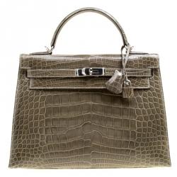 2d168d82254b Hermes Vert Veronese Shine Alligator Palladium Hardware Kelly Sellier 32 Bag
