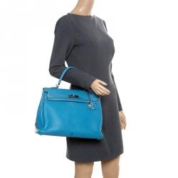 Hermes Blue Lagon Togo Leather Palladium Hardware Kelly Retourne 35 Bag 19519f61e5fc6