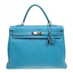 74d9cf3b80 Hermes Blue Lagon Togo Leather Palladium Hardware Kelly Retourne 35 Bag